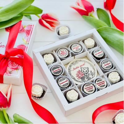 Красивый подарок маме в виде пожеланий из шоколада